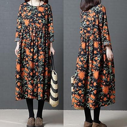 Longra Maxikleider Damen Herbst -Winterkleid Leinenkleid Langes Kleid  Baumwolle Boho Maxi Kleid Langarmkleid Freizeitkleid Damen Beiläufige Lose  Kleid ... 6a5ef1fc90