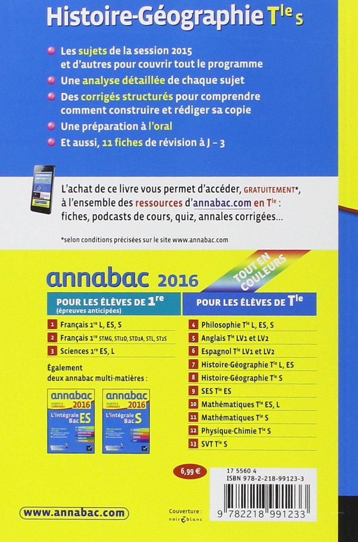 Annales Annabac 2016 Histoire-Géographie Tle S: sujets et corrigés du bac - Terminale S: Amazon.es: Jean-Philippe Renaud: Libros en idiomas extranjeros