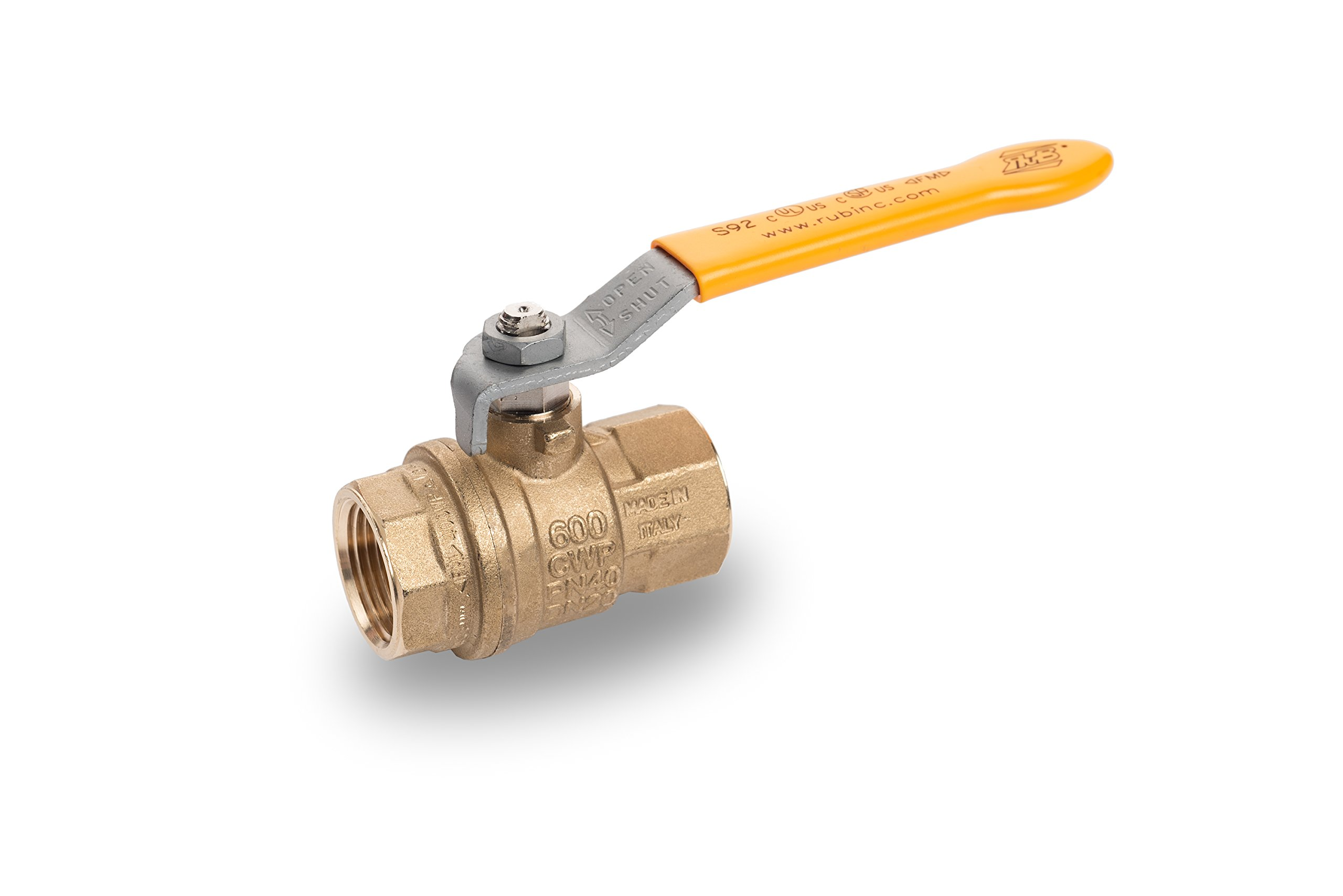 RUB S92E41 S92 3/4'' FxF Lever Handle Ball Valve Water Steam Gas Industrial Use Hot Forged Brass Full Port, 25, 000 Cycle, 0.75'' (Pack of 12)