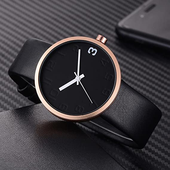 Amazon.com: TOMI ,T021 Mens Watch(1 x Watch + 1 x Box) Ikevan Simple Style Casual Men s Rounded Bussines Retro Design Leather Band Watch (Color F): PU ...