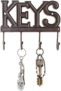 Comfify Key Holder - Keys - Wall Mounted Key Hook - Rustic Western Cast Iron Key Hanger - Decorative Key Organizer Rack with 4 Hooks - with Screws and Anchors - 6x8 inches (Rust Brown)