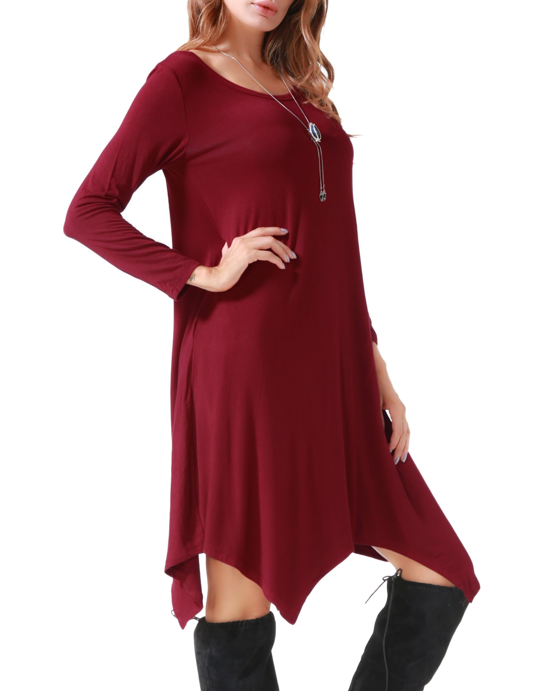 Invug Women Casual Loose Soft Crewneck Long Sleeve Pockets Swing T-shirt Dress Dark Red XXL by Invug (Image #6)