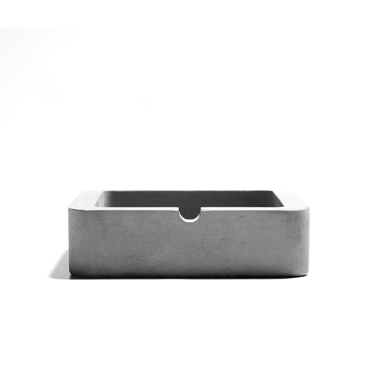 anaan Geométrico Cenicero de Concreto Hormigon mesa Modernos Diseño para Cigarrillos o Puros Interior y Exterior (Cuadrado 9x9x3cm) OEM