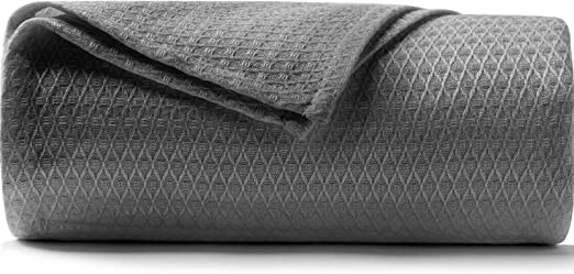 DANGTOP Cooling Blankets, Queen Size 100% Bamboo Blanket for All-Season, Cooling Blanket Absorbs Body Heat to Keep Cool on Warm Night, Ultra-Cool Lightweight Blanket for Bed (79x91 inches, Dark Grey)