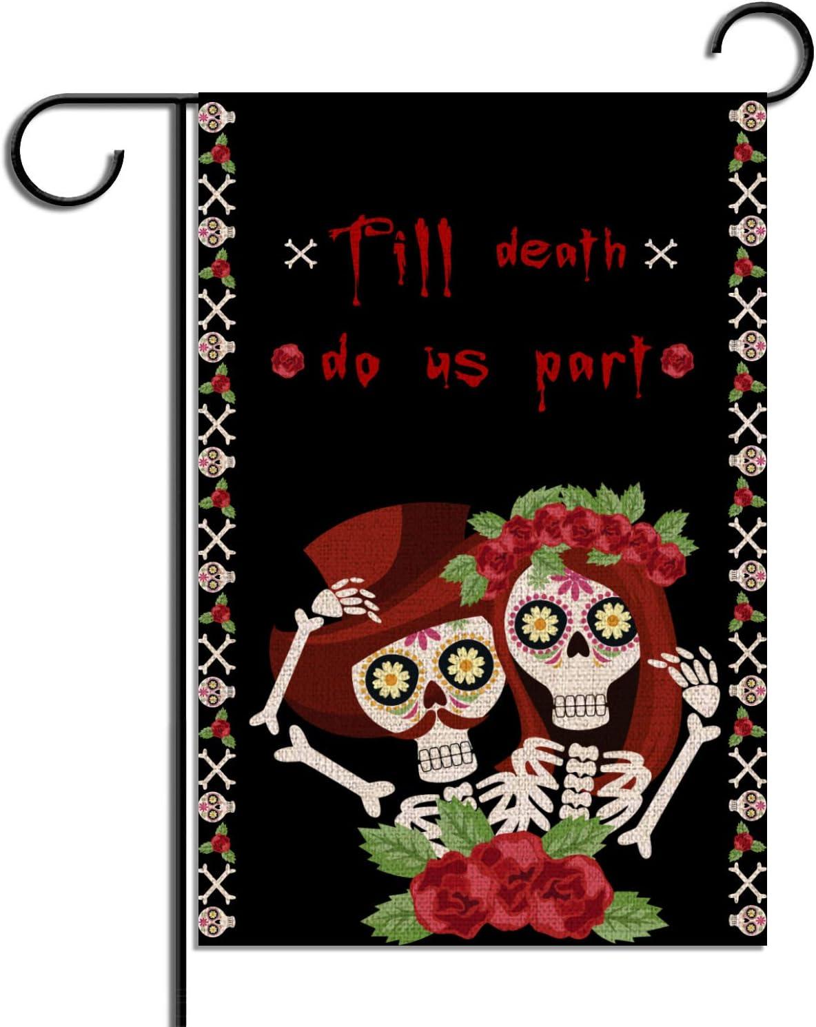 Rainlemon Sugar Skull Till Death Do Us Part Garden Flag Vertical Double Sized Mexico The Day of The Dead Yard Outdoor Decoration