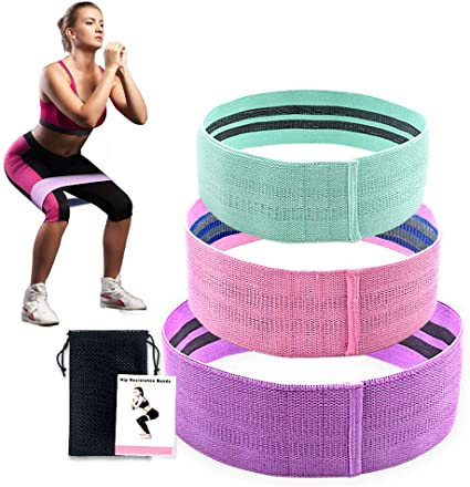 Kootek 10 Pieces Resistance Loop Bands Set Workout Bands for Leg and Butt Training High Elasticity Exercise Band with Door Anchor 2 Core Sliders Legs Ankle Straps Guide Book for Home Fitness Gym