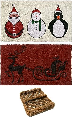 Rubber-Cal 2 Coco Coir Outdoor Christmas Doormats 1 Herringbone Boot Scraper
