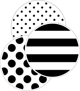 Schoolgirl Style Black, White and Stylish Designer Dots Cutouts—Black and White Stripes, Polka Dots, Bulletin Board Pieces, Classroom Decorations (36 pc) (120606)