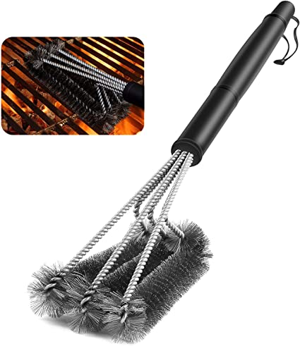 Grill Brush and Scraper BBQ Brush for Grill 18 Stainless Steel Wire Bristles 3-in-1 Barbecue Cleaning Brush for Charcoal Grill Weber Gas Safe Durable Effective with Heavy Duty Stainless Grill Scraper