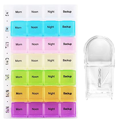 3ed8f8e186bb Pill Organizer and Cutter, PEMOTech 28 Compartment Pill Organizer 7 day  Daily Pill Reminder Detachable Snap Lids Pill Box Bright Colors Medicine ...
