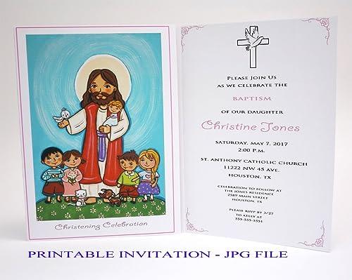 Amazon Com Girl Baptism Invitation Girl Jesus Children Girl