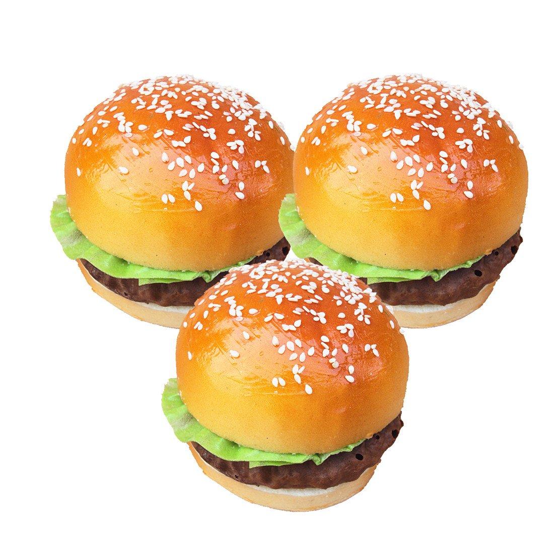 Mynse 3 Pieces Creative Cute Artificial Fake Bread Hamburger Attractive Sesame Hamburger