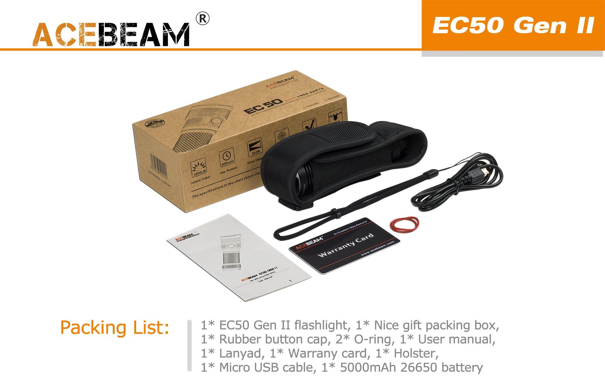 ACEBEAM EC50 GEN II LED Flashlight CREE XHP70 EDC LED Flashlight 5000K 3000lumens Rechargeable Flashlight with 5000mAh 26650 Battery