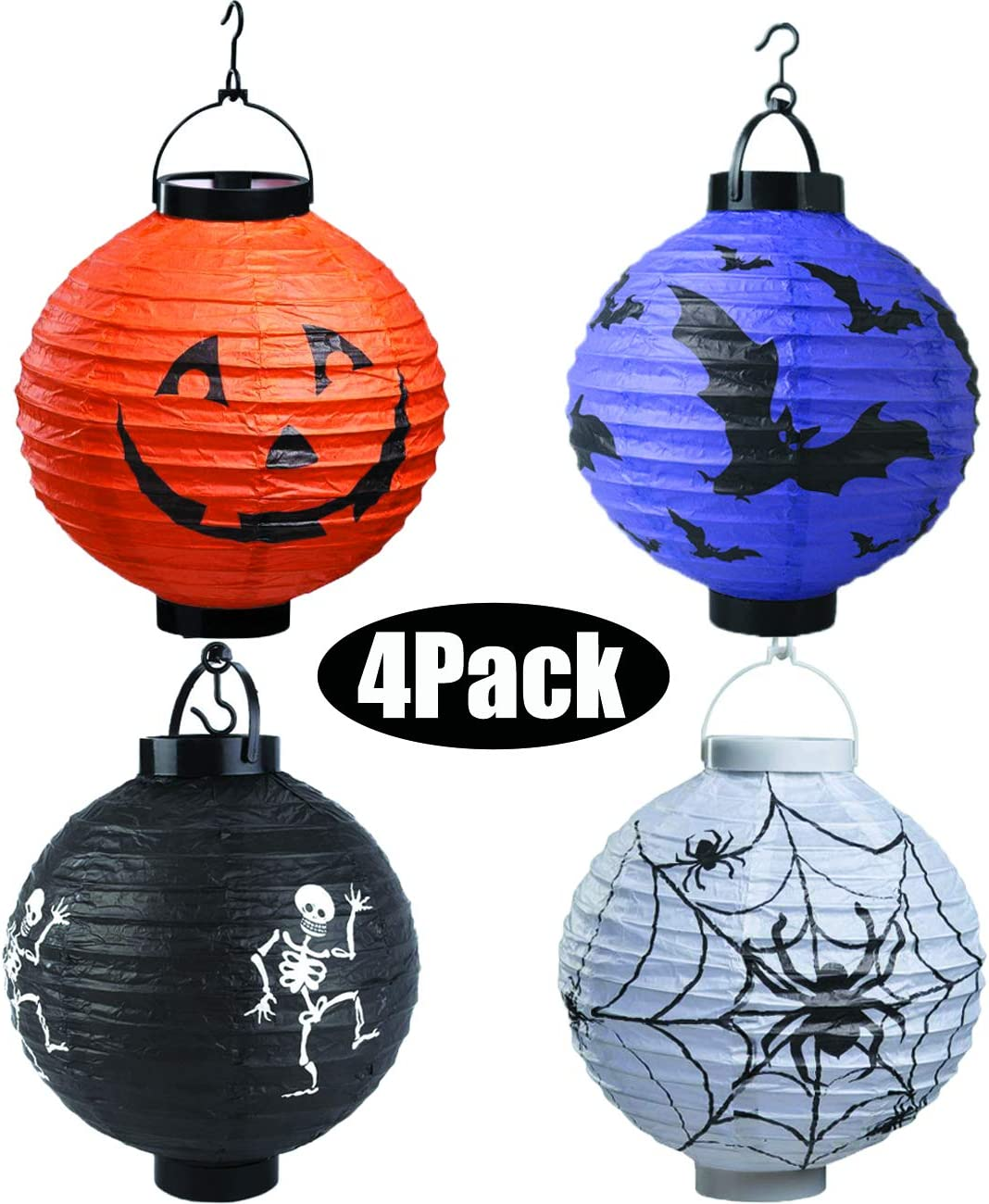 Bimkole 4 Pack Halloween Decorations Paper Lantern with Spider Skull Skeleton Bat Pumpkin Smiley for Home Garden Outdoor Yard Hanging Party Decors Supplies 7.8 Inch