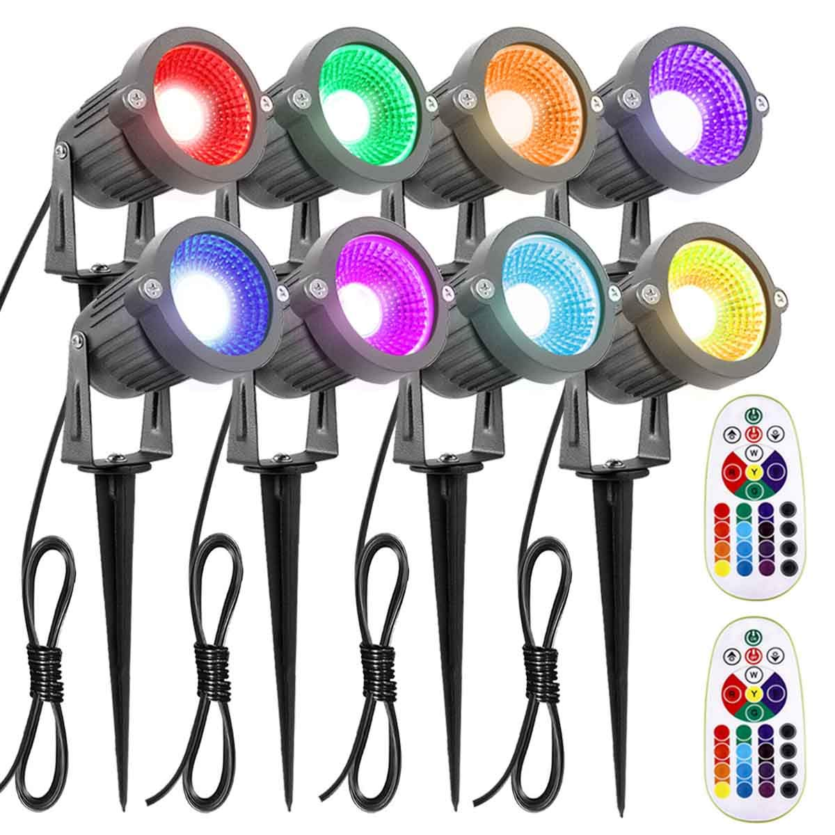 ZUCKEO Landscape Lighting 6W RGB Remote Control LED Landscape Lights 12V 24V Low Voltage Garden Pathway Lights, Waterproof 16 Color-Changing Decorative Lights for Indoors Outdoors(8 Pack) by ZUCKEO