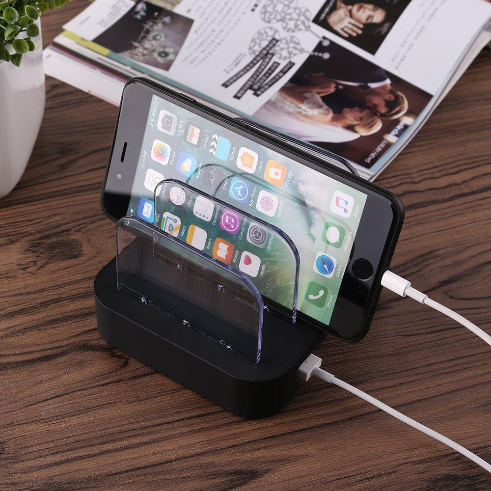 Mbuynow Estación de carga USB, 3 Puertos USB Multi-Cargador Universal 2.4A Tecnología de carga rápida para teléfonos inteligentes Tablets Galaxy Nexus y más