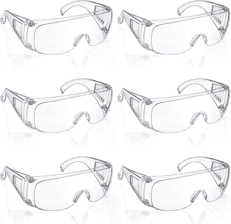 6 Pares Gafas Protectoras de Policarbonato Gafas de Seguridad Claras Gafas Anti-Niebla con Lente Resistente al Impacto para Construcción Laboratorio Protección Ocular al Aire Libre