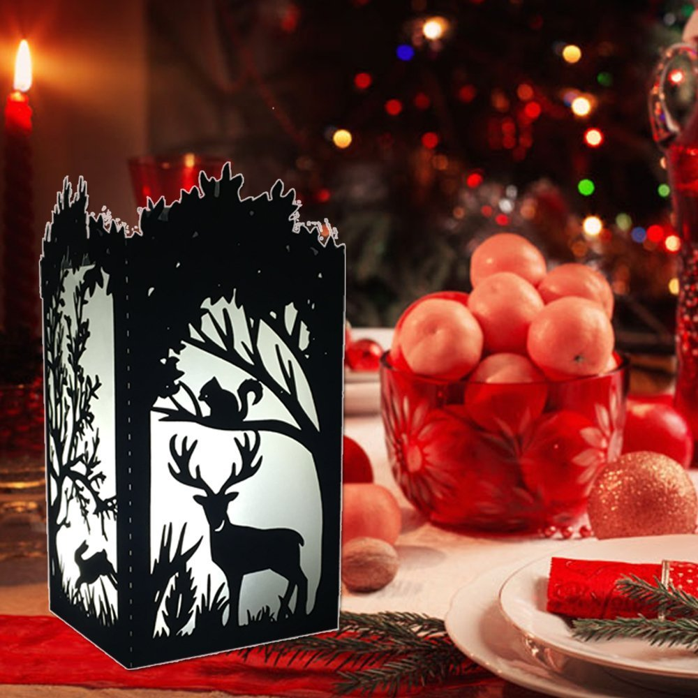 Yovente 50pcs Laser Cut Paper Candle Holder,Forest Handmade Asian Oriental paper Light Night Lamp Shade Art Gift Home Christmas Vintage Bedroom Bedside Garden Living Room, Forest-Gold