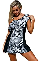 Lady Swain Womens Stripes Lined Up Double Up Tankini Top Swimwear Bathing Suit