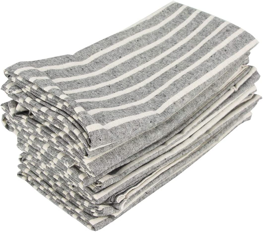 Noir 43 x 43 cm INFEI Lot de 12 Serviettes de Table en Coton et Lin Motif Rayures 43 x 43 cm