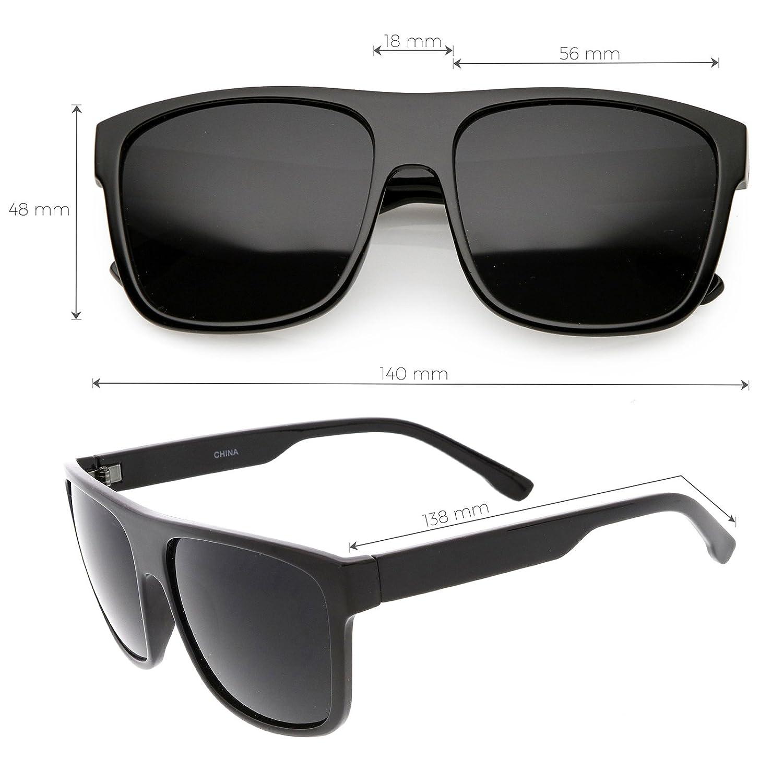 7054e82fad7 Amazon.com  sunglassLA - Men s Oversize Flat Top Horn Rimmed Sunglasses  Wide Arms Square Lens 56mm (Black Smoke)  Clothing