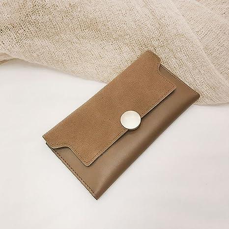 Carteras de Tela Mate con Monedero de Color de Contraste , marrón