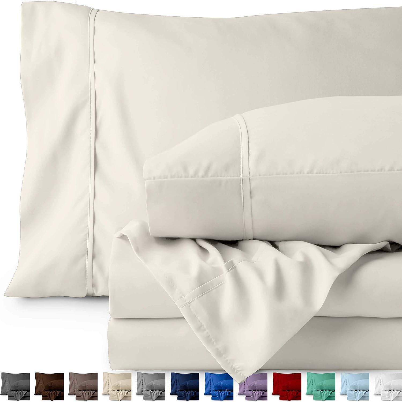 Bare Home Split King Sheet Set - 1800 Ultra-Soft Microfiber Bed Sheets - Double Brushed Breathable Bedding - Hypoallergenic – Wrinkle Resistant - Deep Pocket (Split King, Ivory)