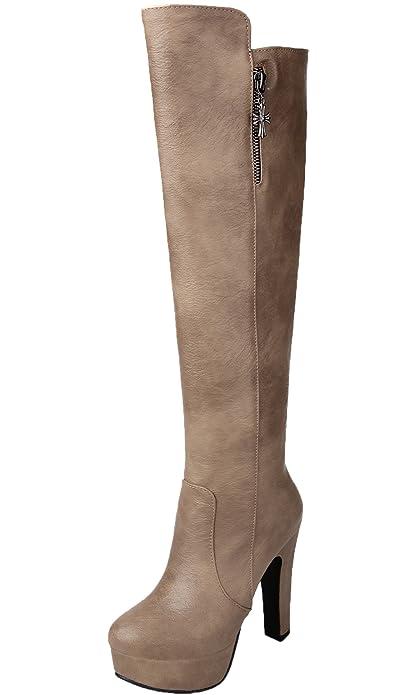BIGTREE Botas largas Mujer Tacón alto Cuero de PU Casual Otoño Invierno Cálidas Plataforma Rodilla Botas