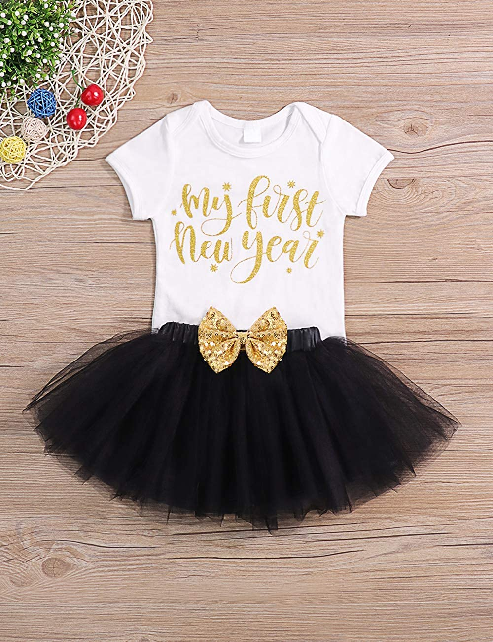 Headband 4PCS Dress Set My 1st New Year Outfit Newborn Baby Girl Clothes Romper Top+Tutu Tulle Polka Skirt+Leg Warmer