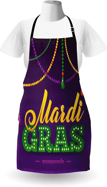 Purple Marigold Fern Green apron/_40201 Ambesonne Mardi Gras Apron Beads and Tassels Masquerade Theme Calligraphy Design Fun Print Unisex Kitchen Bib Apron with Adjustable Neck for Cooking Baking Gardening