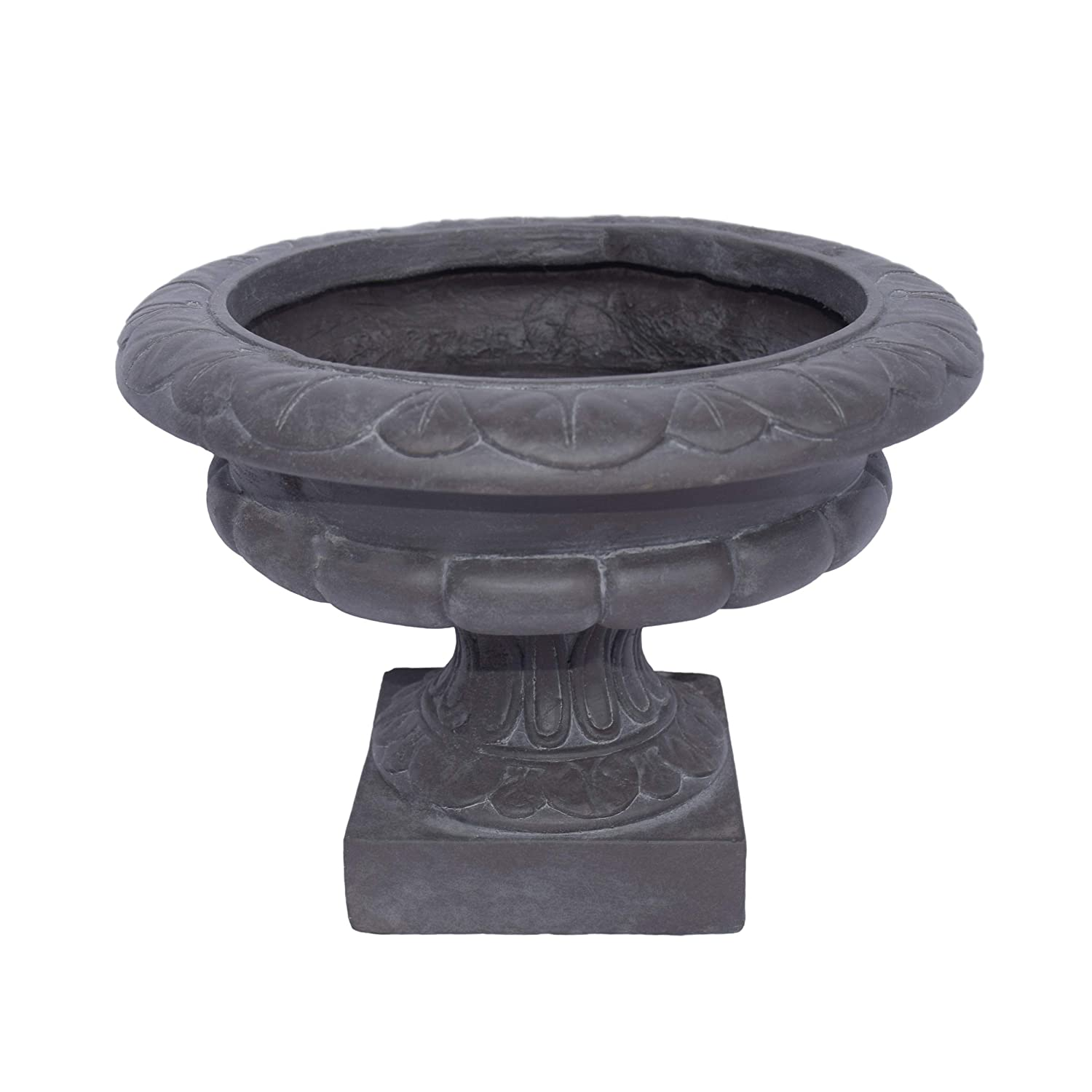 Great Deal Furniture Breenda Chalice Garden Urn Planter, Roman, Botanical, Antique Gray Lightweight Concrete