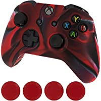 Generic New Silicone Cover Case Skin Controller & Grip Stick Caps for Xbox One(camouflage Red Black)