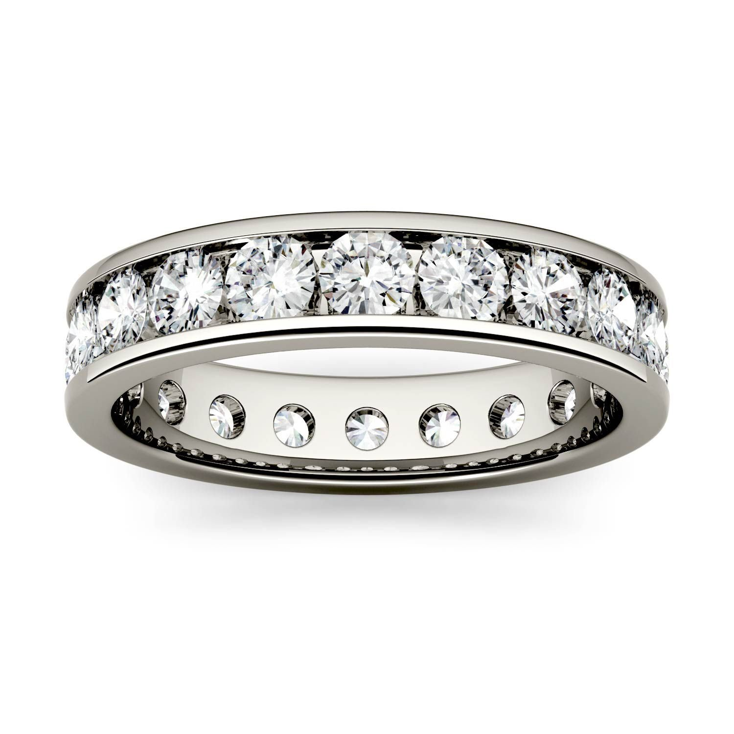 Forever One Round 3.0mm Moissanite Eternity Band-size 8, 2.20cttw DEW (D-E-F) By Charles & Colvard