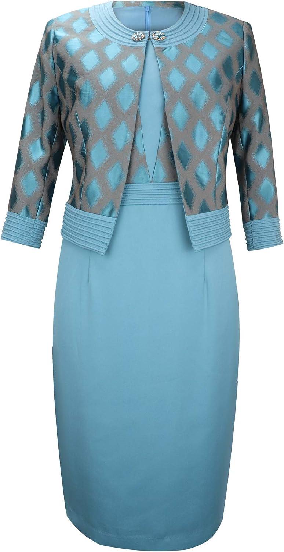 YIMIYI Women's Three Quarter Sleeve Plus Size Jacquard Fabric Jacket with Straight Dress Two-Piece Suit