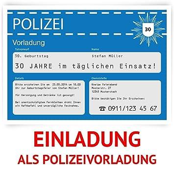 Einladungskarten Zum Geburtstag 30 Stuck Als Polizeivorladung