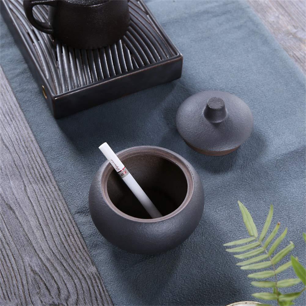 A A Ceramic Ashtray with Lid Handmade Windproof Creative Retro Ashtray