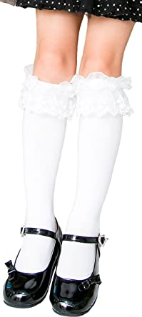 7e5dcefb0bfd81 [アリサナ]arisana ハイソックス キッズ 女の子 フォーマル 靴下 白 黒 スクール フリフリレース靴下 白