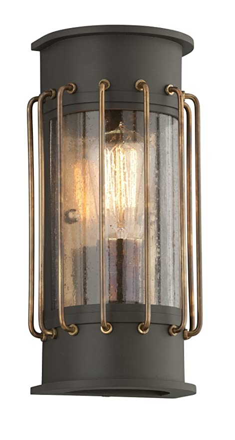 Troy Lighting Cabot 12h Outdoor Led Wall Light Bronze Finish With Historic Brass