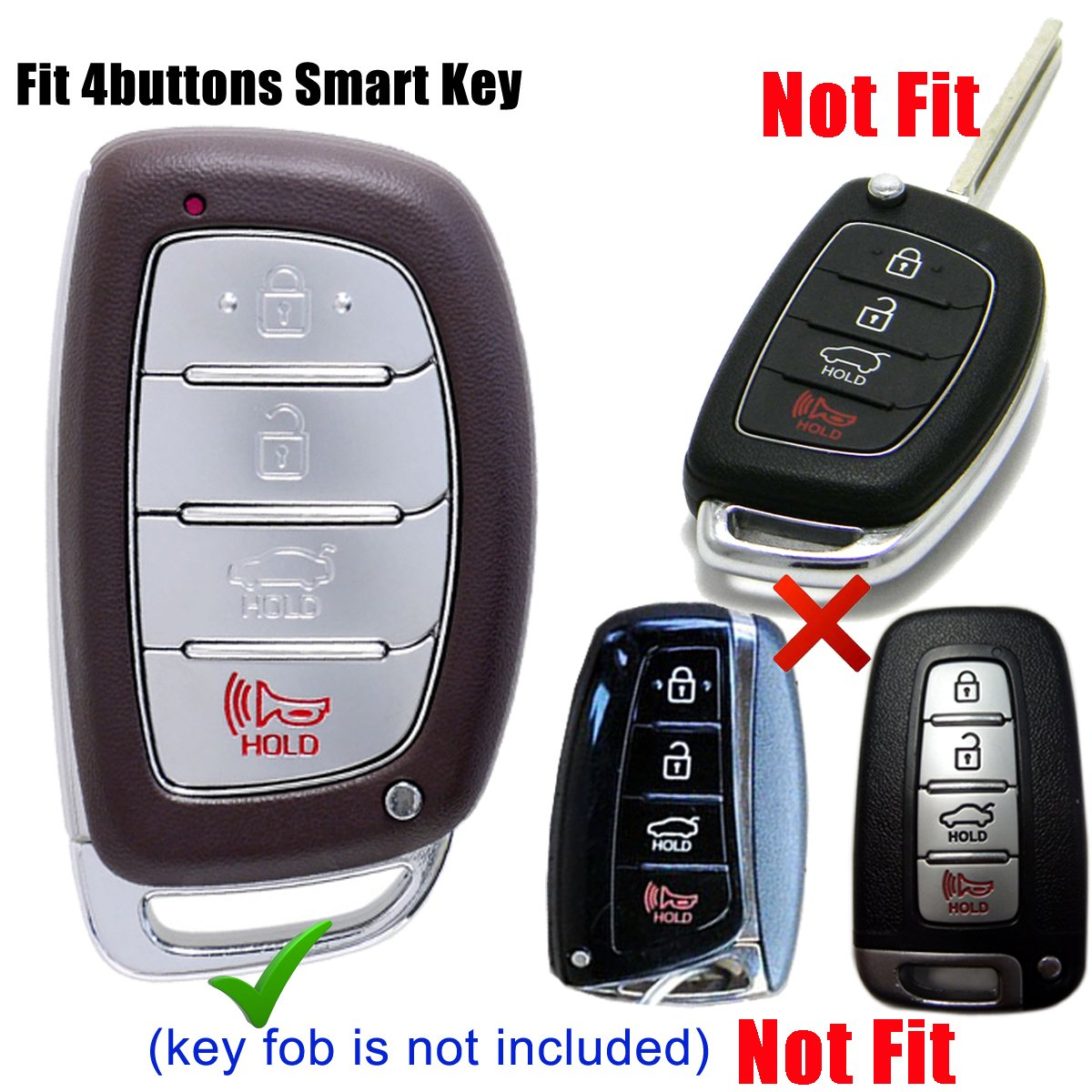 NOT FIT Flip//Pop Out//Folding key Brown Coolbestda Genuine Leather Key Fob Remote Cover Keyless Entry Jacket Holder for 2018 2017 2016 Hyundai Tucson Elantra Sonata 4Buttons