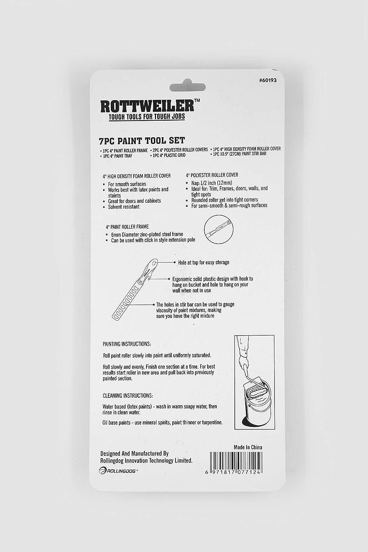 bandeja de pintura cubierta de espuma de alta densidad barra de mezclado y rejilla de carga Juego de 7 herramientas de pintura con cubiertas de poli/éster sin pelusas Rottweiler