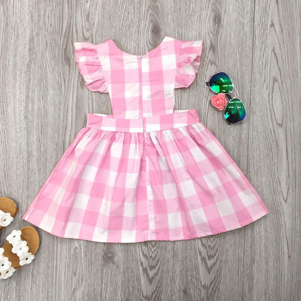PENATE Baby Girl Classic Plaid Dress Summer Sleeveless Soft Cotton School Skirt