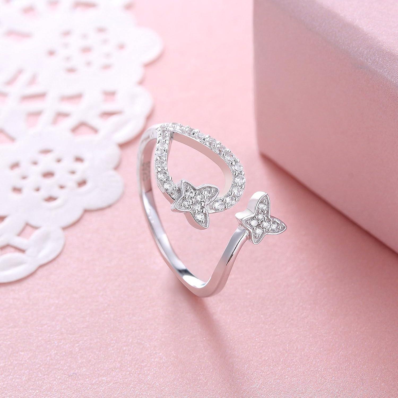 Amazon.com: 925 Sterling Silver Cz Open Butterfly Rings for Women ...