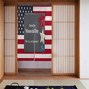 OcuteO Noren Doorway Curtain Memorial Day Chalkboard Sign With Patriotic Usa Flag Stars(1) Japanese Noren Doorway Curtain Long Tapestry Door Curtains Decor Dividers for Home Kitchen Bedroom Bathroom L