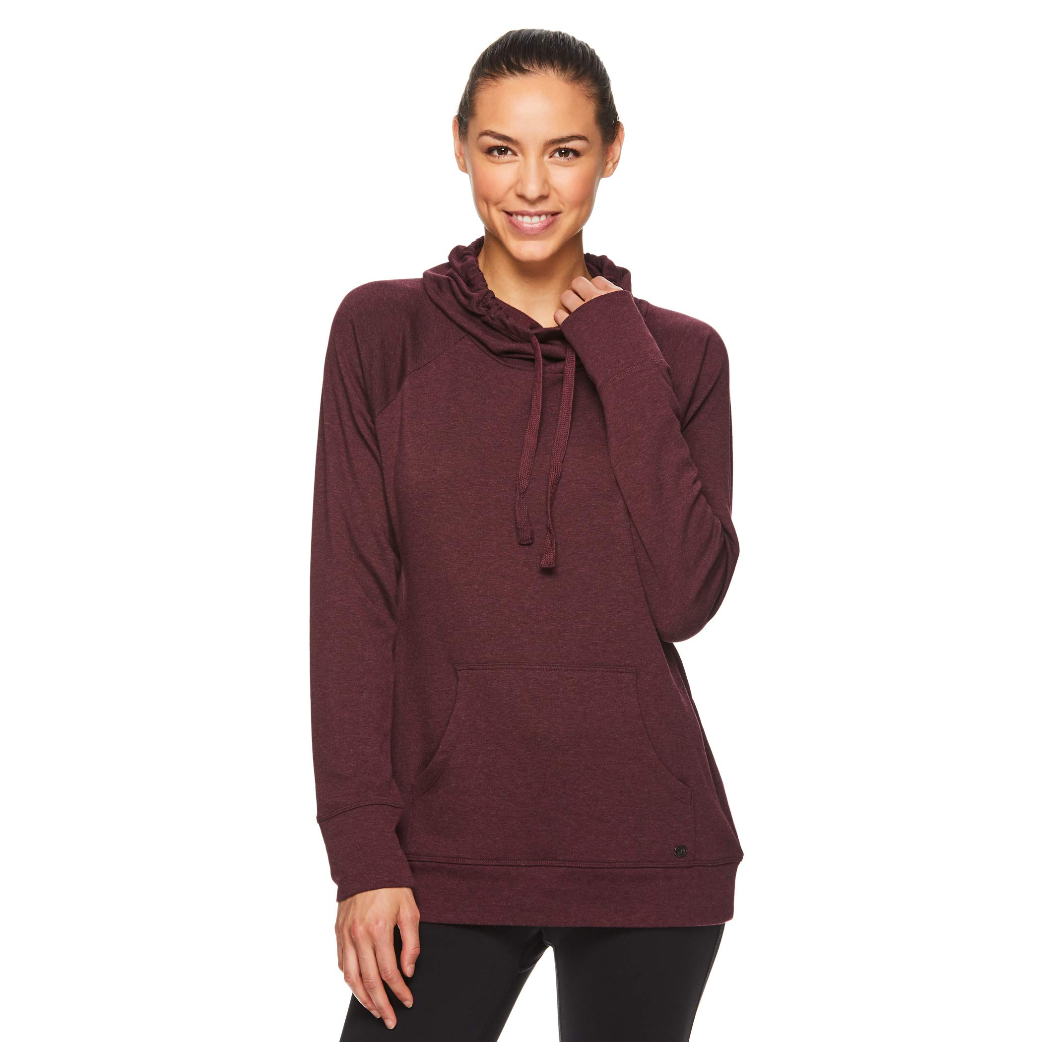 Gaiam Women's Pullover Hoodie Yoga Sweatshirt - Lightweight Long Sleeve Athleisure Sweater - Grace Winetasting Red Heather, X-Small by Gaiam