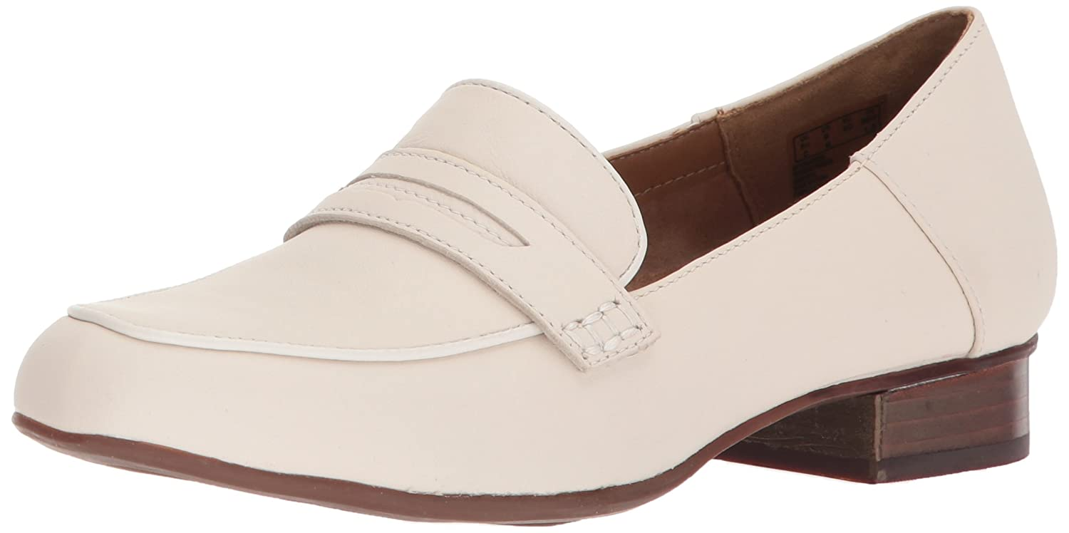 White Leather Clarks Women's Keesha Cora Penny Loafers