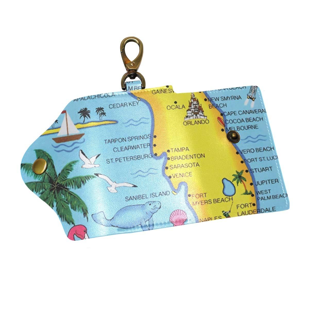 Amazon com: Florida Map Key Case Wallets Leather Unisex