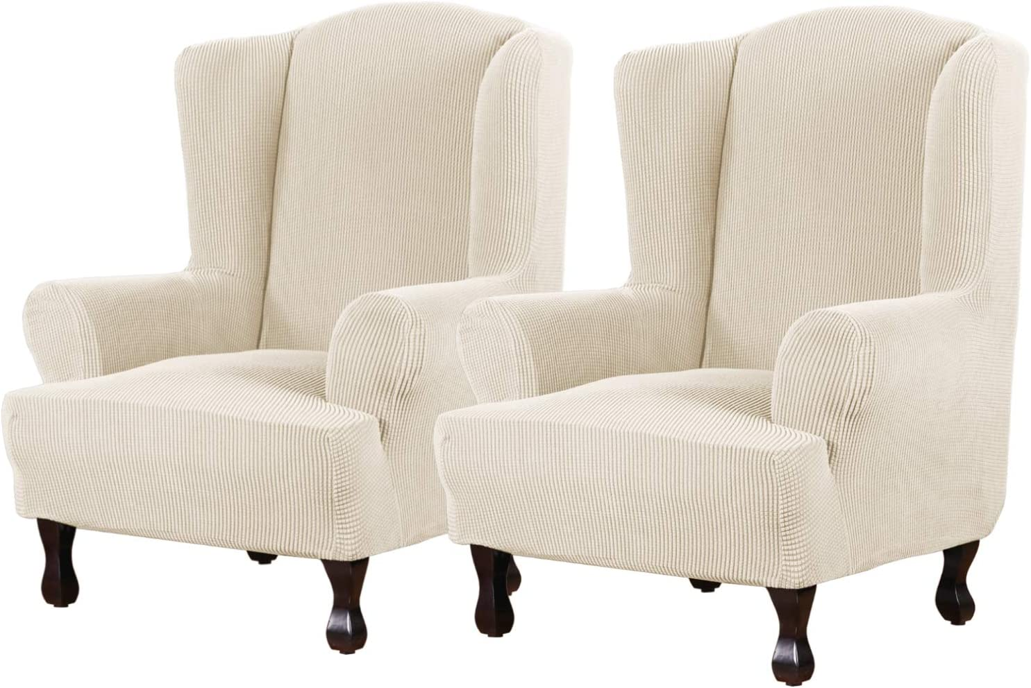H.VERSAILTEX Super Stretch Stylish Furniture Cover/Wingback Chair Cover Slipcover Spandex Jacquard Checked Pattern, Super Soft Slipcover Machine Washable/Skid Resistance (2 Pack Wing Chair, Natural)