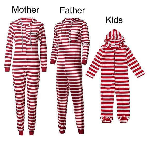 Gusspower Ropa Conjunto de Pijamas Familiares de Navidad para Familia Padre y Madre y Bebé Sudadera Rayas Manga Larga + Pantalones, Traje de Ropa de Mujer ...