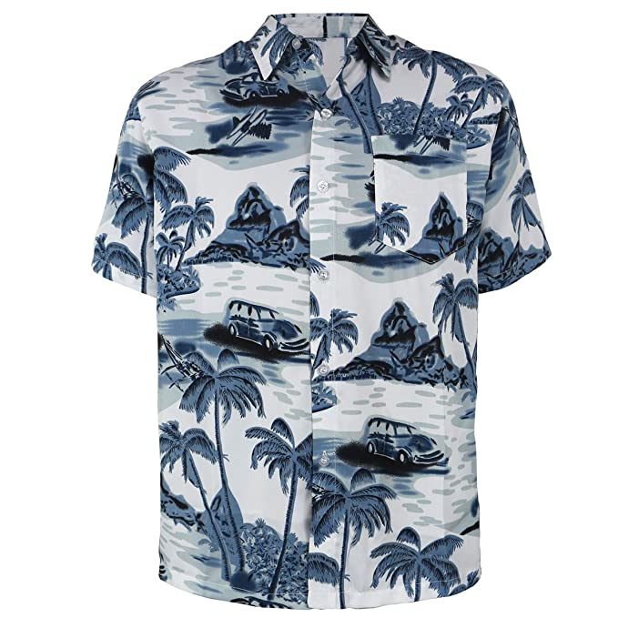 e46ce966 Mens Hawaiian Shirt Short Sleeve Palm Tree Print Beach Aloha Party Holiday  Casual Button Down Tops