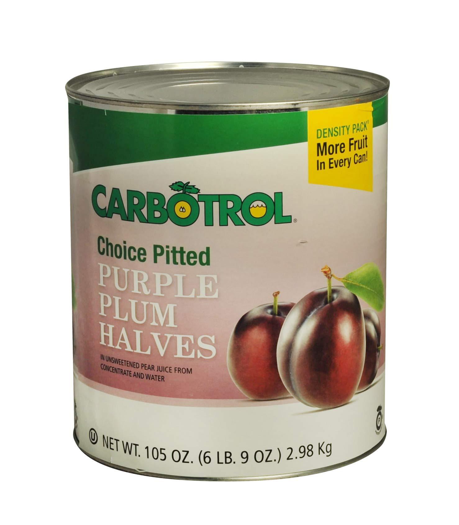 Carbotrol Plum Halves, #10 Canned Fruit - 105oz (Case of 6 Cans) by Carbotrol